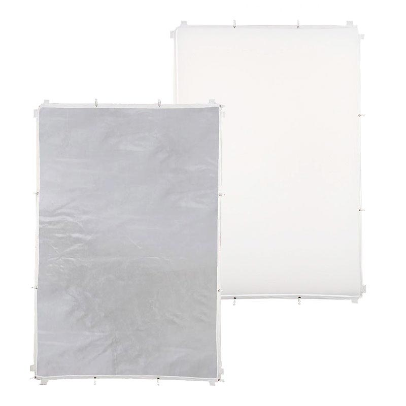 silber für SUN PANEL 140x200 cm LIFE of PHOTO 2-in-1 Reflektor-Bezug-Stoff weiß